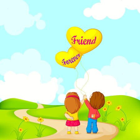 illustration of friends forever for Happy Friendship Day Illustration