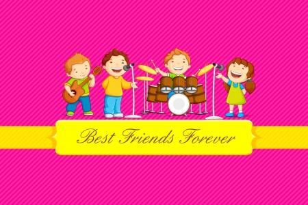 ilustración de los niños que celebran Día de la Amistad