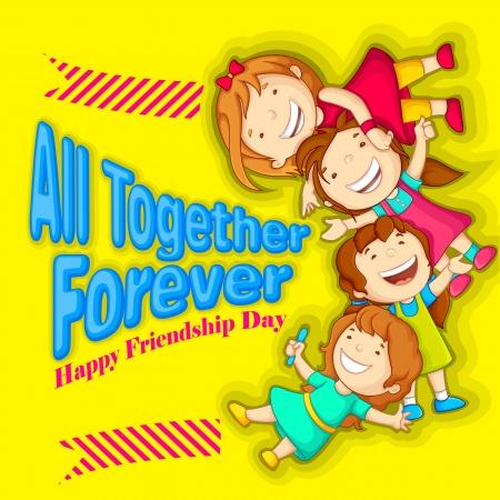 illustration of kids celebrating Friendship Day Stock Illustration - 21188949