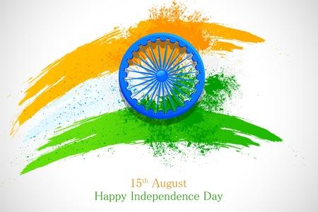 independencia: ilustraci�n del grunge bandera india con Ashoka Chakra