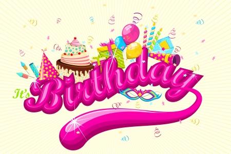 torte compleanno: illustrazione del biglietto di compleanno con torta e regali Archivio Fotografico