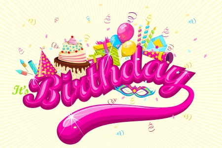 pasteles de cumpleaños: Ilustración de la tarjeta de cumpleaños con pastel y regalos