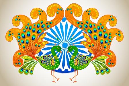 peacock wheel: illustrazione vettoriale della bandiera indiana color pavone decorato