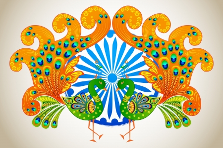saffron: vector illustration of Indian flag colored decorated peacock
