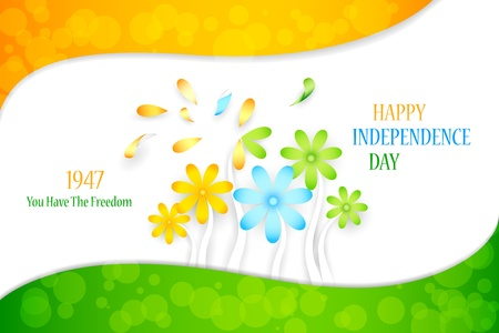 illustration of Indian tricolor flower for Independence Day Vector