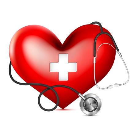 stethoscope heart: vector illustrationof stethoscope wrapping heart