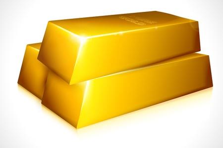 lingotes de oro: ilustración vectorial de ladrillo de oro contra el fondo blanco