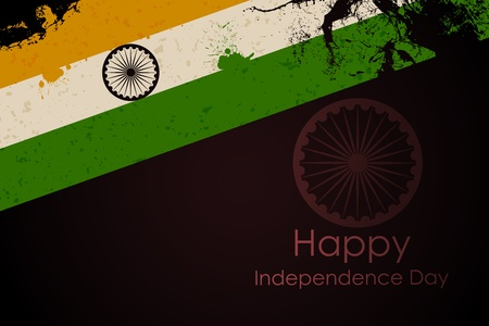 chakara: illustration of grungy Indian Flag for Indian Independence Day