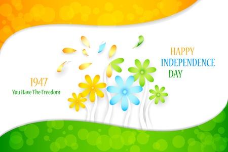 saffron: illustration of Indian tricolor flower for Independence Day