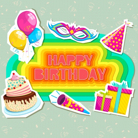 vector illustration of birthday card with cake and gifts Vector