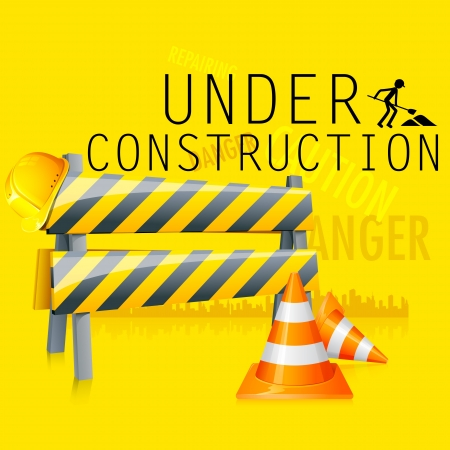 obstruction: illustration of under construction background with road barrier