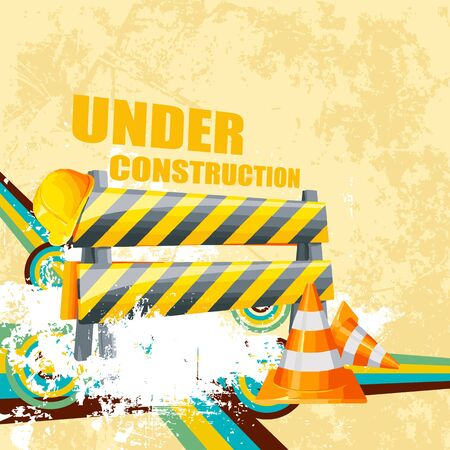 illustration of under construction background with road barrier Stock Illustration - 21188995
