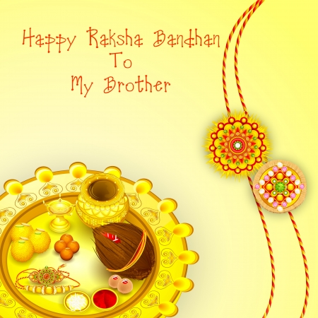 Rakhi pooja thali for Raksha Bandhan Illustration