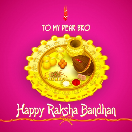 rakshabandhan: Rakhi pooja thali for Raksha Bandhan Illustration