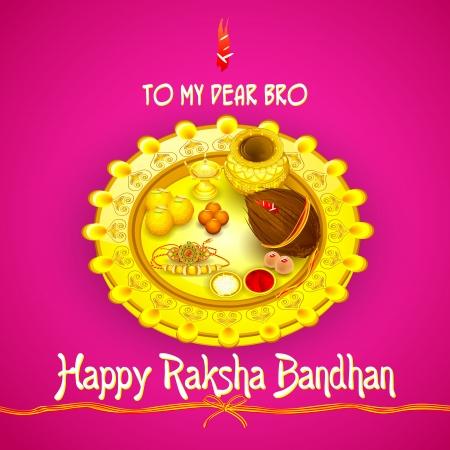 pooja: Rakhi pooja thali for Raksha Bandhan Illustration