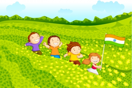 independence day: Kids with Indian flag Illustration
