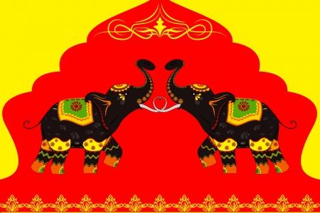Versierde olifant waarop de Indische cultuur