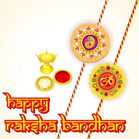 rakhi: vector illustration of rakhi pooja thali for Raksha Bandhan