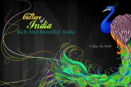インドの旗の色に装飾された孔雀のベクトル図