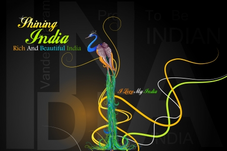 ashok: vector illustration of Indian flag colored decorated peacock