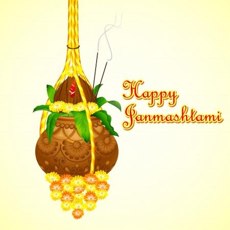 illustration of Happy Janmashtami with hanging dahi handi Vector