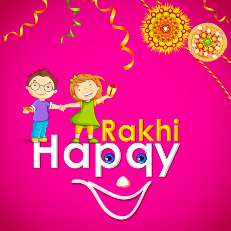 raksha: vector illustration of brother and sister in raksha bandhan Illustration