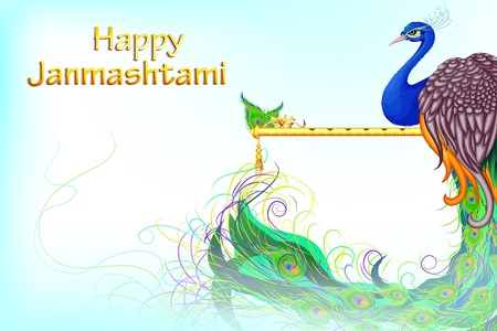vector illustration of colorful Peacock in Janmashtami Vector