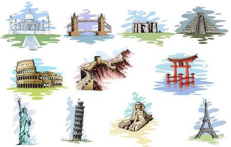 vector illustratie van de collectie van World Famous Monument