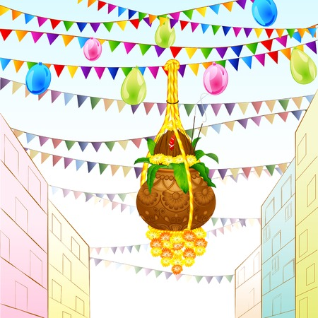 illustration of Happy Janmashtami with hanging dahi handi Vector