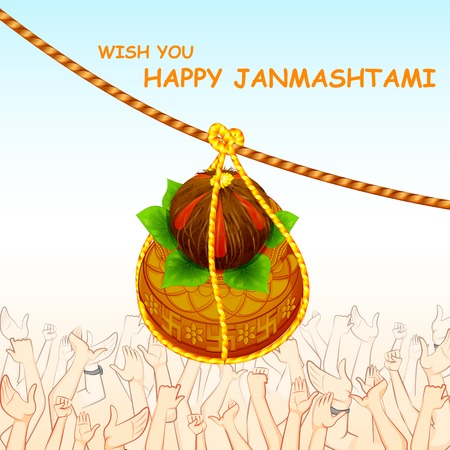 mahabharata: illustration of Happy Janmashtami with hanging dahi handi