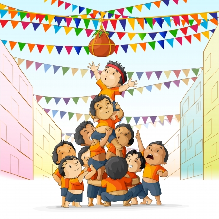 vector illustration of boys at playing dahi handi in Janmashtami Vector