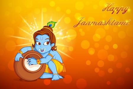 krishna: illustration du Seigneur Krishna voler makhaan dans Janmashtami