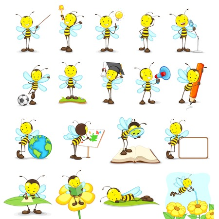 vector illustration of bees doing different activities Vector