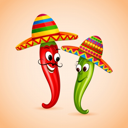 mexican cartoon: vector illustration of Mexican chili dancing