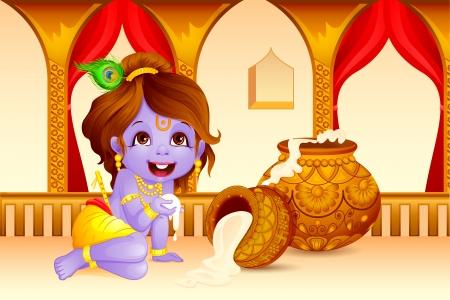 서사시: 주님 크리슈나의 그림 Janmashtami에 makhaan 훔쳐 일러스트