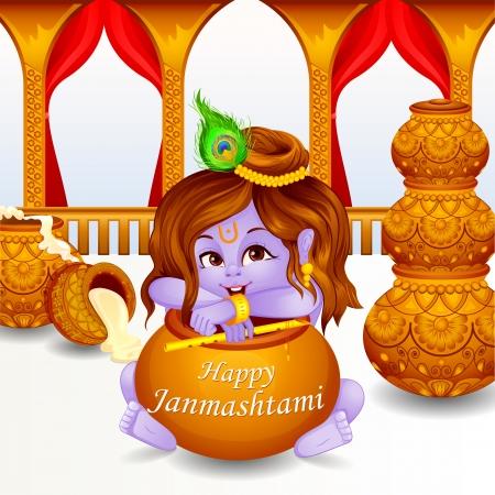 illustration of Lord Krishna stealing makhaan in Janmashtami Vector