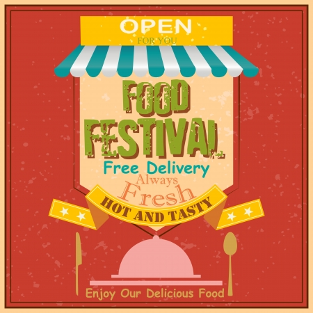 vector illustration of Food Festival Retro Poster Stock Vector - 22724802