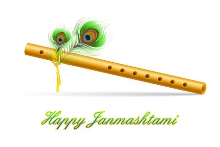 illustration of bansuri with Peacock feather in Janmashtami Vector