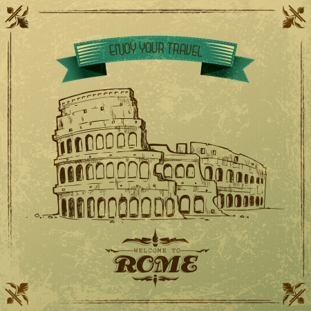 vector illustration of Roman Colosseum for retro travel poster