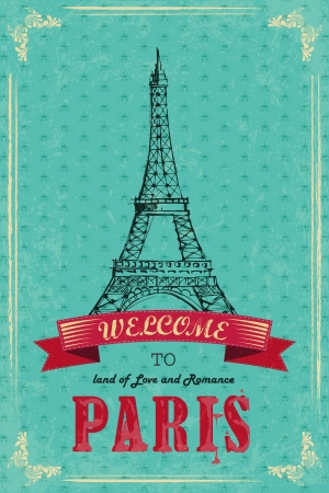 vector illustration of Eiffel Tower for retro travel poster Vector
