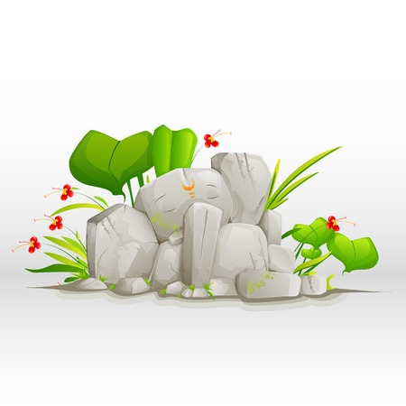 vector illustration of Lord Ganesha made of stone Vector