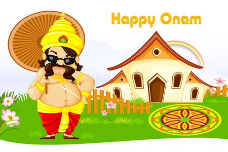 vector illustration of King Mahabali wishing Happy Onam Stock Vector - 22724993