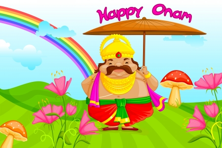 onam: vector illustration of King Mahabali wishing Happy Onam