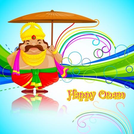 pookolam: vector illustration of King Mahabali wishing Happy Onam