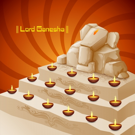 ganapati: vector illustration of Lord Ganesha with burning diya