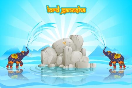 god figure: vector illustration of Lord Ganesha with decorated elephant