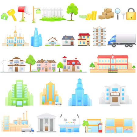 bank building: vector illustration of different building