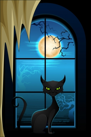 superstitious: vector illustration of black cat in Halloween night