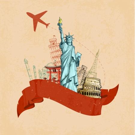 vector illustratie van monument voor retro reis poster Vector Illustratie