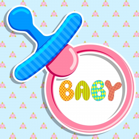 nipple: vector illustration of pacifier in baby announcement card Illustration